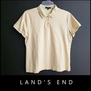 Land's End Woman Polka Dots Polo Shirt Size Medium